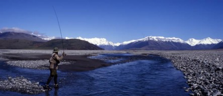 Fly fishing on the upper Rakaia River