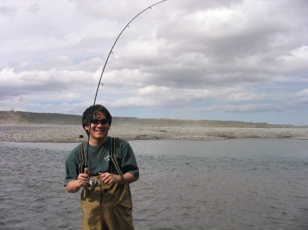 Salmon fishing with light tackle on the Waimariri River