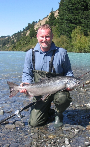 Up-river salmon fishing on the Waimakariri River